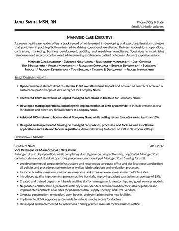 Managed Care Executive Sle Resume by Managed Care Executive Resume