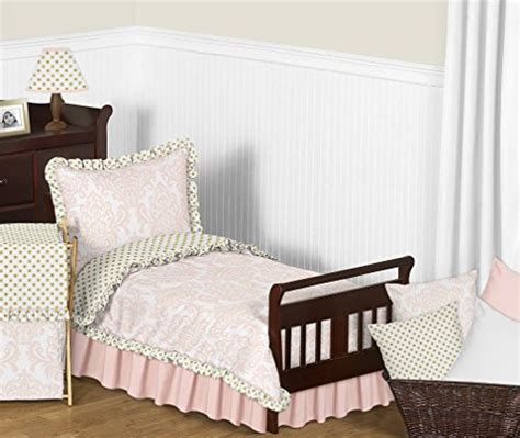 Set Armelia Kid blush pink white damask and gold polka dot amelia 5 toddler childrens bedding