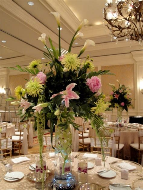 Flower Wedding Reception Centerpieces by Wedding Reception Elevated Centerpieces Ritz Carlton