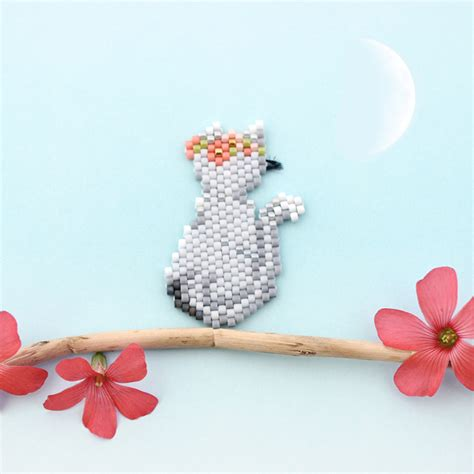 beadwork cat miyuki brick stitch beadwork back cat perles co