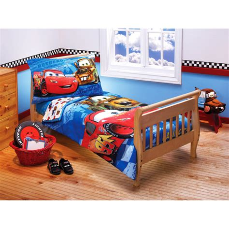 disney cars toddler bed set disney cars toddler bedding set 4 piece walmart com