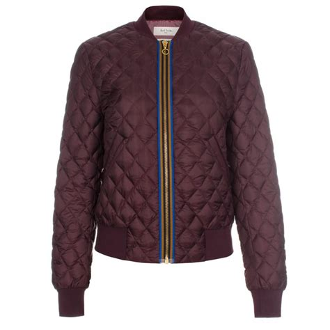 Bomber Quilted Jacket by Paul Smith Quilted Bomber Jacket In Damson Quilted
