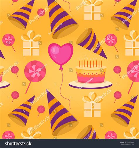 Stensil Stencil Motif Happy Birthday Bunga Dekorasi vector seamless pattern happy birthday background stock vector 490806046