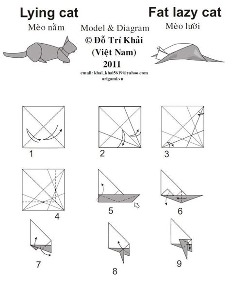 Cat Origami Diagram - 1000 images about origami katt on bookmarks