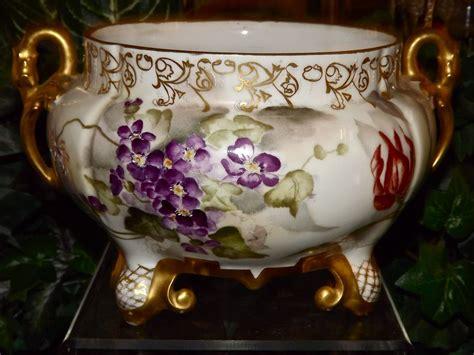 Jardiniere Vase by Limoges Swan Handled Jardiniere Vase With Purple Violets