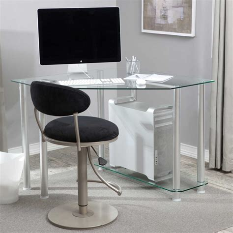 glass corner computer desk image gallery modern corner desk