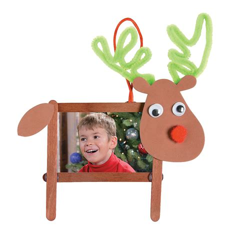 craft stick reindeer photo frame christmas ornament craft