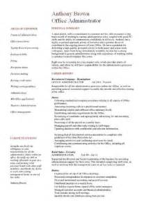 office administrator resume sle best resume exle