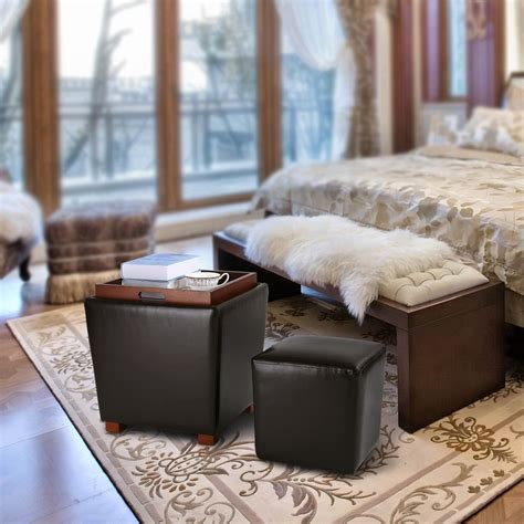 Ottoman With Stools Inside by 2pc Nesting Pu Leather Upholstered Ottoman Storage Coffee