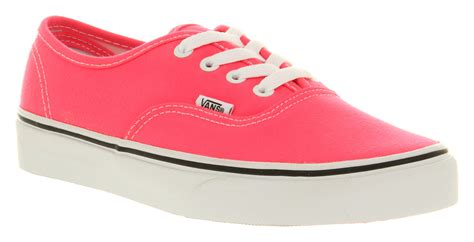 vans authentic neon pink whtst trainers shoes