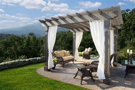 Small Kitchen Ideas Apartment wood pergola with curtains 50 ideas for privacy in the