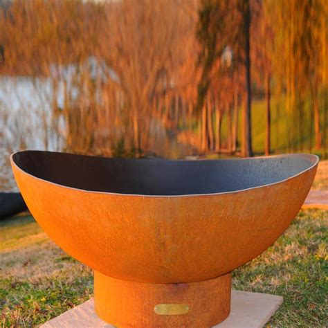 Shop Fire Pit Art 36 In W Iron Oxide Patina Steel Wood Firepit Wood