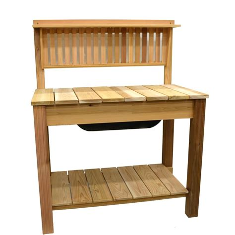 potty bench 44 75 in x 60 5 in natural cedar potting bench with