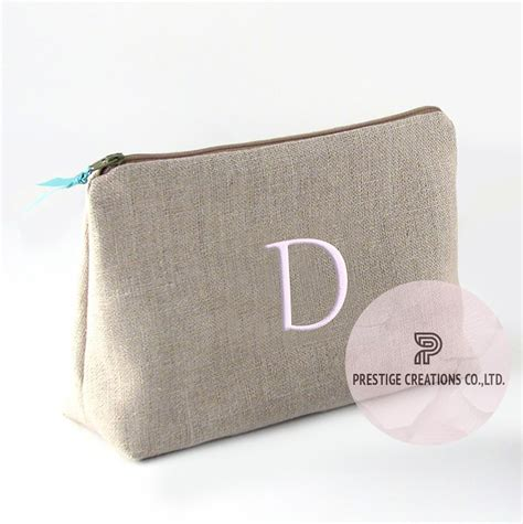 Personalized Handmade Bags - embroidered cotton cosmetic bag with personalized monogram