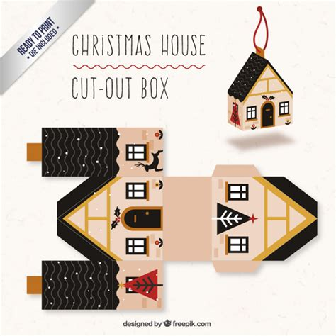 christmas box house cute christmas house box vector free download