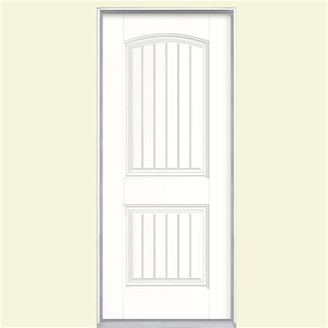 Prehung Fiberglass Exterior Doors Jeld Wen 36 In X 80 In 6 Panel Primed White Fiberglass Prehung Front Door With Brickmould