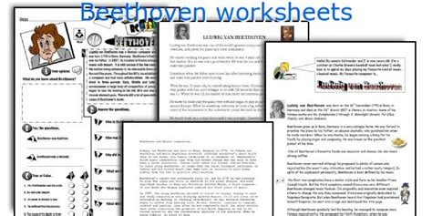 beethoven biography and worksheet beethoven worksheet