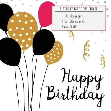 birthday gift card design template 13 free printable gift certificate templates birthday