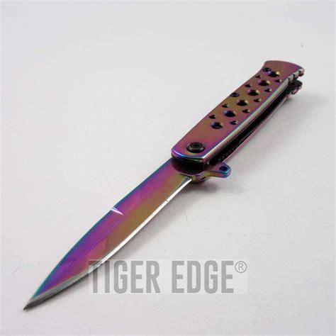 Tactical Folding Knife Dagger assist folding pocket knife rainbow stiletto dagger blade tactical edc
