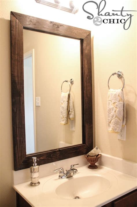 10 diy ideas for how to frame that basic bathroom mirror 10 diy ideas for how to frame that basic bathroom mirror
