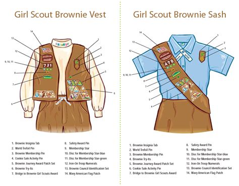 cadette sash diagram where to place insignia on a brownie brownies