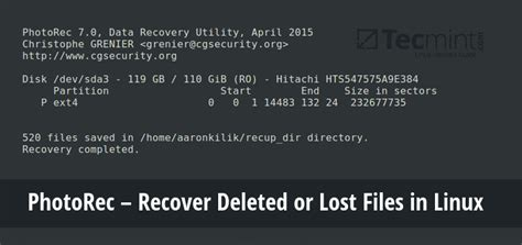 photorec recover deleted  lost files  linux