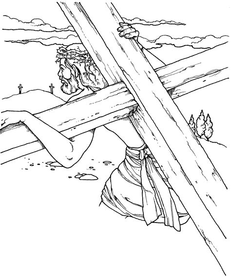 coloring pages jesus carrying cross jesus with cross on back mychurchtoolbox org