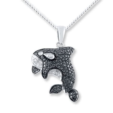 orca necklace 1 20 ct tw black white