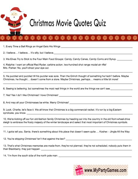 Printable Christmas Movie Quotes Quiz | free printable christmas movie quotes quiz