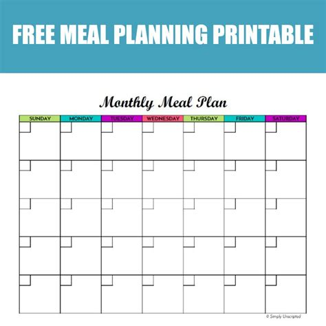 monthly meal planner printable calendar template
