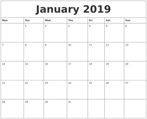 printable monthly calendar monday start january 2019 print monthly calendar