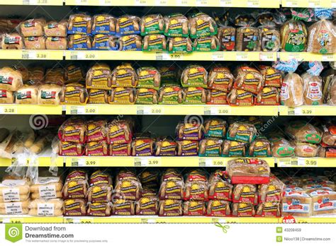 Grocery Store Shelf by Bread In Grocery Store Editorial Stock Image Image Of
