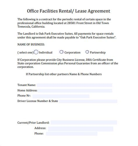 office space lease agreement template sle office lease agreement 8 free documents word pdf