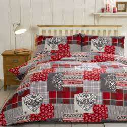 Rapport home alpine patchwork duvet cover set in red next day