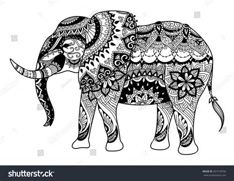 mandala elephant design cards tattoo t stock vector