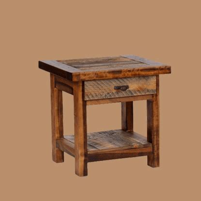 reclaimed barnwood wood end table wyoming reclaimed wood end table 1 drawer