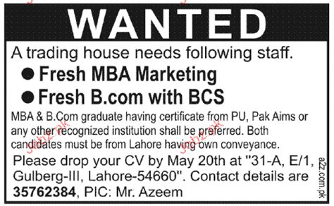 Fresh Mba In Pakistan by Fresh Mba Marketing And Fresh B With Bcs Wanted 2018
