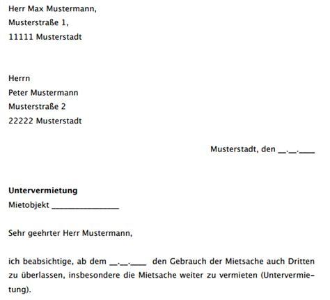 Zustimmung Musterschreiben Musterschreiben Zum Bitte Um Erlaubnis Zur Untervermietung