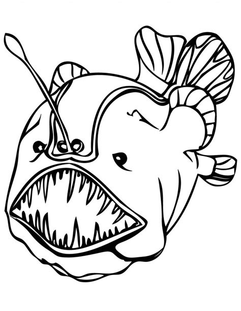 coloring pages of angler fish angler fish cartoon cliparts co