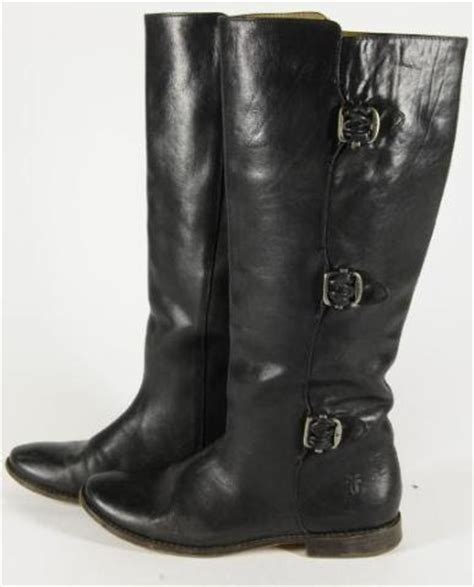 poor dye black leather frye boots brown