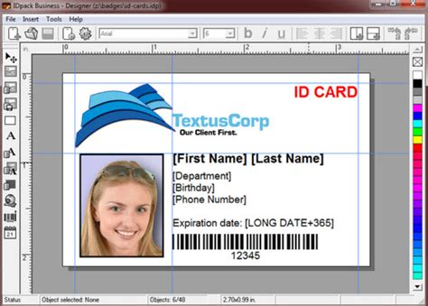 work id card template free idpack business
