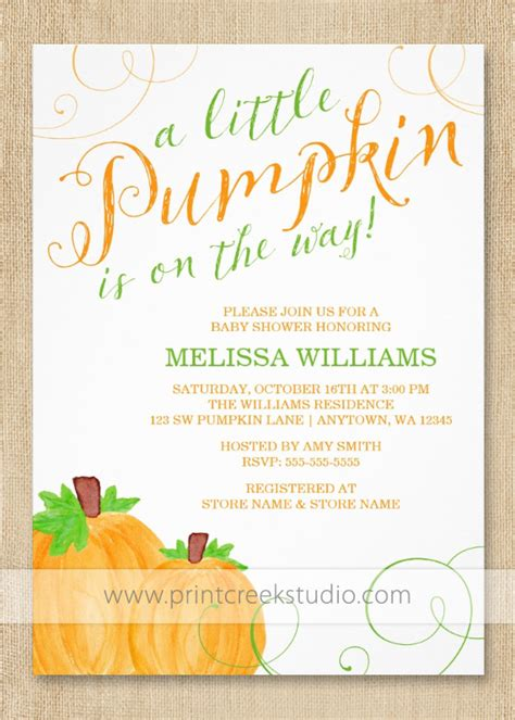 Lil Pumpkin Baby Shower Invitations by Fall Pumpkin Baby Shower Invitations Print Creek Studio Inc