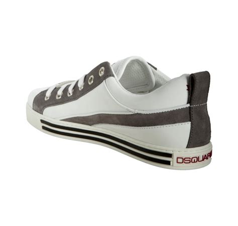 Sneaker Grey Strape Sepatu Sneaker Sneaker Grey Sneaker Strape dsquared 178 white and grey leather striped sneakers in white for lyst