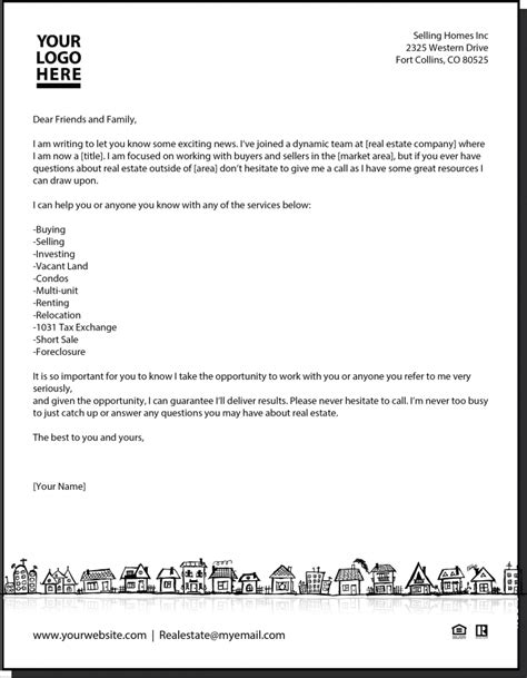 commercial real estate prospecting letter template docoments