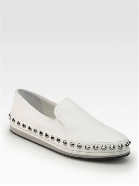 white leather loafers prada studded leather loafers in white lyst