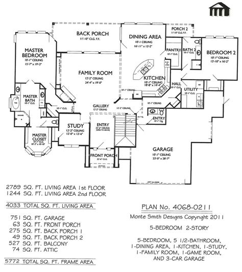 2 story house plans with 5 bedrooms 4068 0211 5 bedroom 2 story house plan