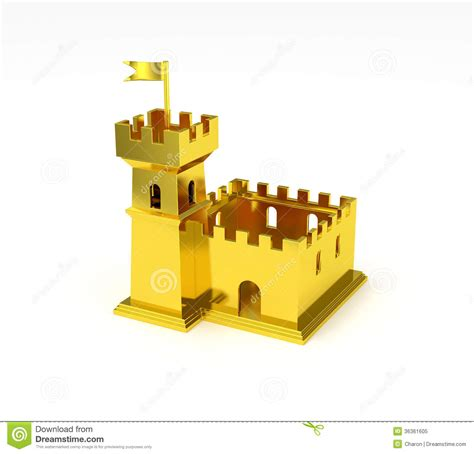 golden house miniature gold toy stock illustration golden fortress miniature gold castle isolated royalty