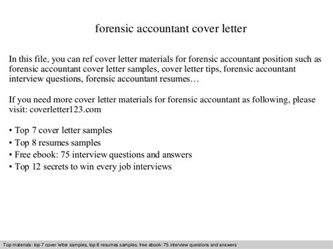 Forensic Cover Letter by Forensic Accountant Cover Letter