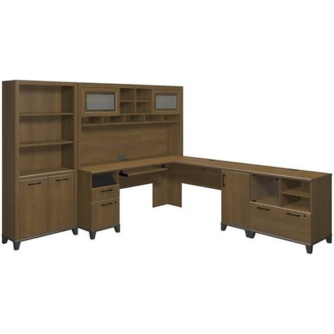 bush achieve 4 l shape desk office set in warm oak