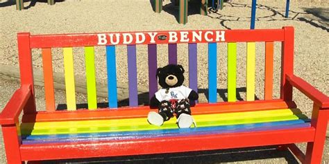 buddy bench sign buddy bench debuted at winnipeg s gray academy of jewish education tweet